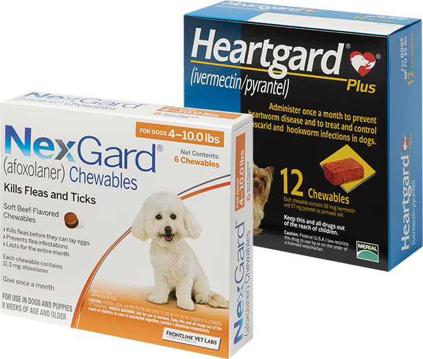 HEARTGARD® Plus (ivermectin/pyrantel) and NexGard® (afoxolaner) packaging